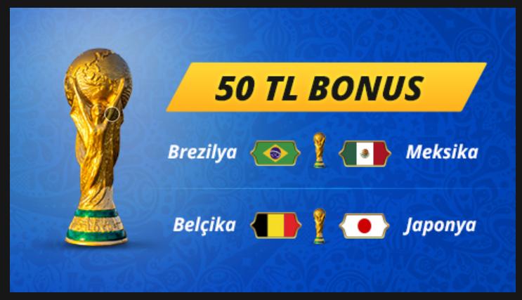 Dünya Kupası'na 50 TL Bonus Kazan